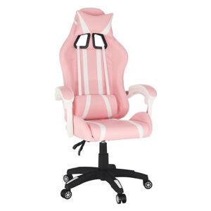 KONDELA Pinky herné kreslo ružová / biela