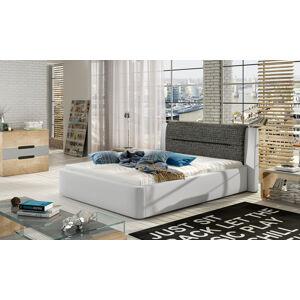 NABBI Portima 140 čalúnená manželská posteľ biela (Soft 17) / čierna (Berlin 02)