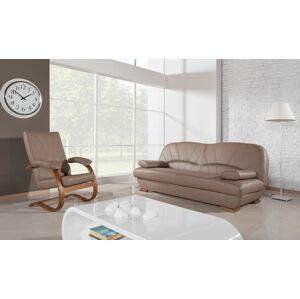 PYKA Galicja kožená sedacia súprava s úložným priestorom drevo D3 / cappuccino (Madras cappucino)