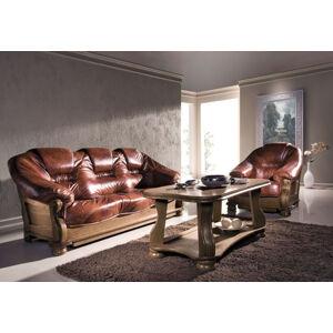 PYKA Lord kožená sedacia súprava drevo D3 / hnedá (Antyk S41)