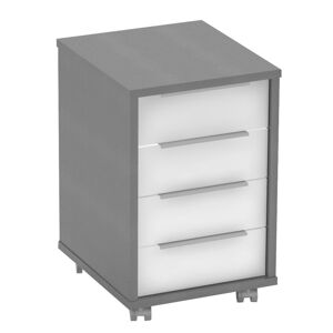 KONDELA Rioma New Typ 14 kontajner na kolieskach grafit / biela
