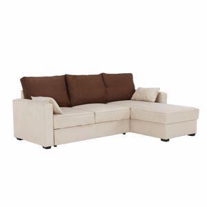 TEMPO KONDELA Mamba L/P rohová sedačka s rozkladom a úložným priestorom béžová / čokoládová