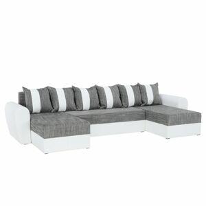 TEMPO KONDELA Tiger U L/P rohová sedačka u s rozkladom biela / sivá