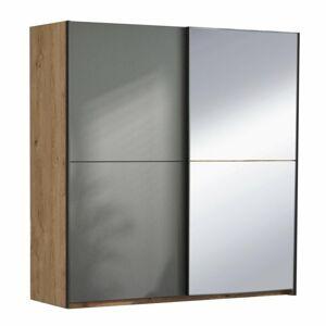 TEMPO KONDELA Utah 2D šatníková skriňa s posuvnými dverami a zrkadlom dub grandson zlatý / uni sivá