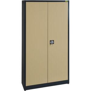 NABBI SB 1000 4P kovová kancelárska skriňa s vystuženými dverami antracit / béžová