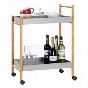 KONDELA Seryl servírovací stolík na kolieskach sivá / prírodná