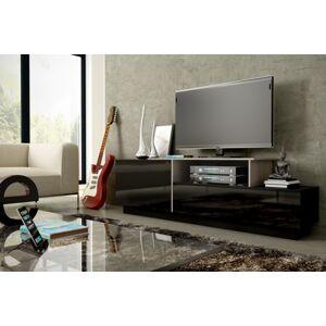 CAMA MEBLE Sigma 3D tv stolík čierna / čierny lesk / dub sonoma