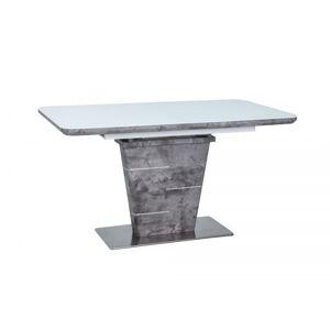 SIGNAL Ilario rozkladací jedálenský stôl biely lak / imitácia betónu