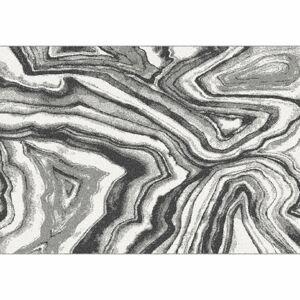 KONDELA Sinan koberec 100x150 cm biela / čierna / vzor