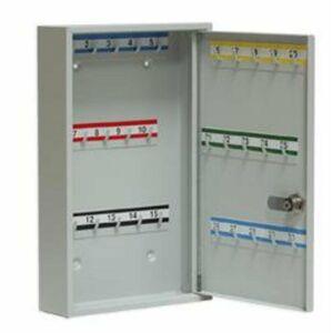 NABBI SK30 kovová skrinka na kľúče s pevnými háčikmi svetlosivá
