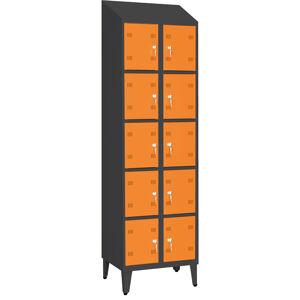 NABBI SK300-010 D/N boxová šatňová skriňa na nožičkách grafit / oranžová