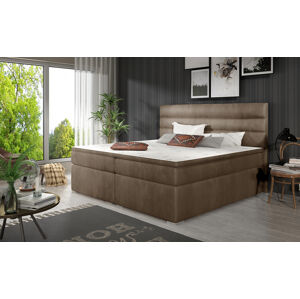 NABBI Spezia 140 čalúnená manželská posteľ s úložným priestorom hnedá