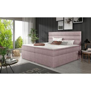 NABBI Spezia 180 čalúnená manželská posteľ s úložným priestorom ružová
