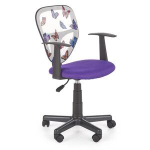 HALMAR Spiker detská stolička na kolieskach fialová / vzor motýle