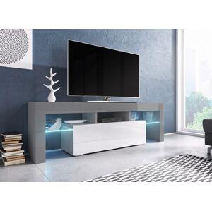 CAMA MEBLE Toro 138 tv stolík sivá / sivý lesk / biely lesk