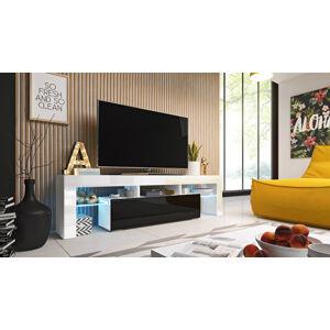 CAMA MEBLE Toro 158 tv stolík biela / biely lesk / čierny lesk