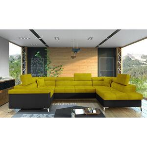 NABBI Torres U L rohová sedačka u s rozkladom a úložným priestorom žltá / čierna