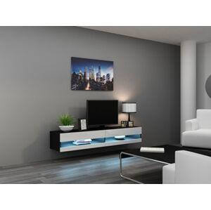 CAMA MEBLE Vigo New 180 tv stolík na stenu čierna / biely lesk