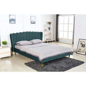 HALMAR Valverde 160 čalúnená manželská posteľ s roštom tmavozelená / zlatá