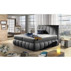 NABBI Vareso 140 čalúnená manželská posteľ s úložným priestorom čierna (Dora 96)