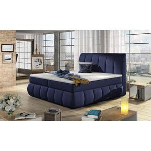 NABBI Vareso 140 čalúnená manželská posteľ s úložným priestorom tmavomodrá (Ontario 81)