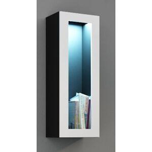 CAMA MEBLE Vigo 90 vitrína na stenu so sklom čierna / biely lesk