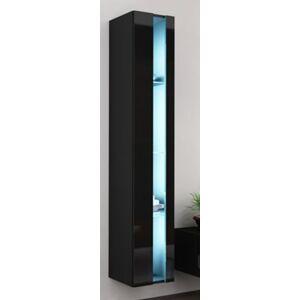 CAMA MEBLE Vigo New 180 vitrína na stenu čierna / čierny lesk
