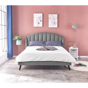 HALMAR Yovella 160 čalúnená manželská posteľ s roštom sivá / čierna
