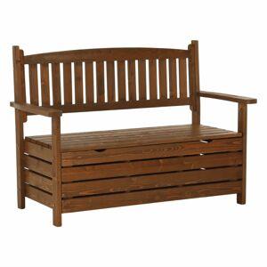 TEMPO KONDELA Dilka záhradná lavička s úložným priestorom hnedá