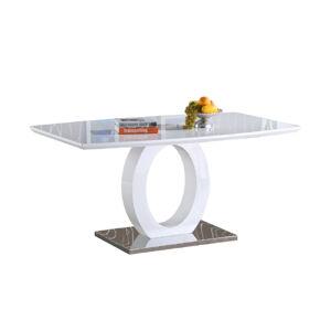 TEMPO KONDELA Zarni jedálenský stôl biely vysoký lesk / oceľ
