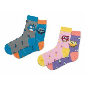 Ponožky Dormeo Náladové sovy, 2 páry , 23-26, PINK/PURPL